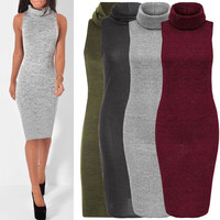 Elegant Women Sleeveless Polo Turtle Neck Stretch Bodycon Knee Length Knit Dress