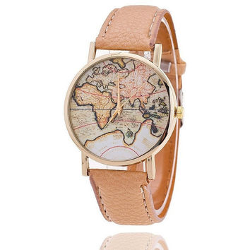 World Map Watch Casual Women Dress Quartz Watches