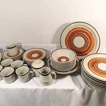 Acsons Corona Stoneware dinnerware set Retro Mid Century Southwestern style 43 pieces 6 complete place settings plus extras & serving pieces