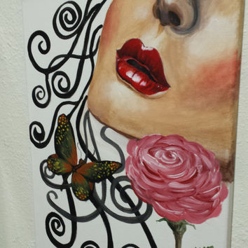 """Lips, Abstract painting, love, Red Rose, red Lips, Valentines day painting, Acrylic painting, red Wall Decor, Original painting 16""""X12"""""""