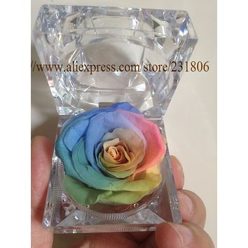 Free shipping Preserved rose eternal flower ring box colorful roses Valentine's Day gift natural real.Christmas gift