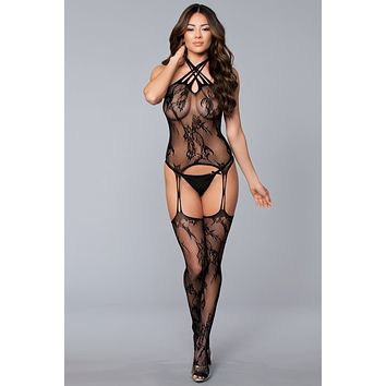Queen Size Multi Strap Lace Detail Bodystocking
