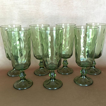 Hazel Atlas Glasses, Lyric Pattern, Green Dimple Glass, Parfait Glass, Mid Century Bar, Tall Pedestal, Thumbprint Glass, Footed Tumbler