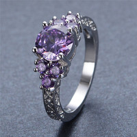 Amethyst Ring White Gold Filled