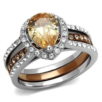 WildKlass Stainless Steel Ring Two Tone IP Light Brown (IP Light Coffee) Women AAA Grade CZ Champagne