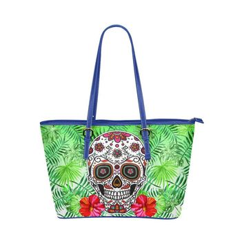 Hip Water Resistant Small Leather Tote Bags Sugar Skull #7 (5 colors)