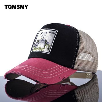 Trendy Winter Jacket TQMSMY Unisex sun hats for men Hip Hop Hat Breathable Mesh Baseball Caps Women Embroidery panda Snapback caps Summer Gorras AT_92_12