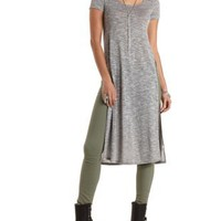 Sweater Knit Side Slit Maxi Tee by Charlotte Russe