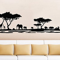Safari Wall Decal Animals Jungle Safari African Tree Animals Jungle Giraffe Elephant Vinyl Decals Sticker Home Interior Design Art Mural Kids Nursery Baby Room Bedroom Decor