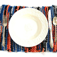 Knitted Placemats Upcycled T Shirts Navy Blue Orange Peach Gray Rustic Brights (set of 2) Country Trivets-- US Shipping Included