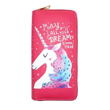 Dreams Come True Unicorn Women's Zipper Wallet
