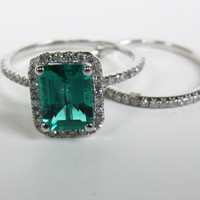 Emerald Shape Emerald Engagement Ring Sets Pave Diamond Wedding 14K White Gold 6x8mm
