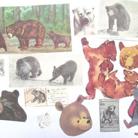 Bear paper ephemera kit: pack of 30 hand cut bear images from vintage books. Craft pack for scrapbooks, art journal, card making. EP737