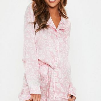 Missguided - Blush Leopard Satin Short Pajamas Set