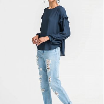 Women's Navy Long Sleeve Blouse with Ruffle Sleeves