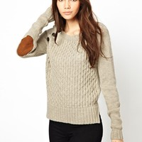 Only Cable Sweater With Button Detail