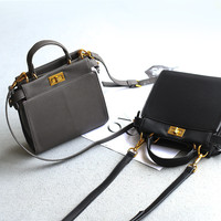 Small Size One Shoulder Vintage Simple Design Mini Lock Bags Tote Bag [4915788164]