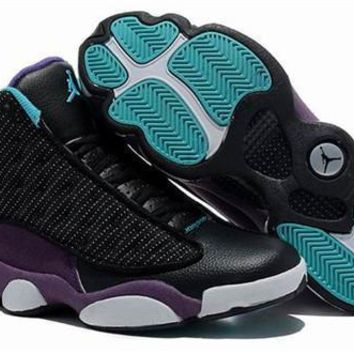 Cheap Nike Air Jordan 13 Men Shoes Suede Black Purple
