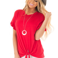 Cherry Red Top with Front Tie and Ruffle Detail