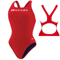 Speedo Guard Red Super Pro Back Lifeguard Suit Swimsuit Size 10