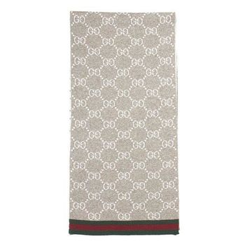 CREYON Gucci Men's Taupe Wool Reversible GG Guccissima Red Green Stripe Scarf
