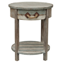 Crestview Collection S Nantucket 1-Drawer Accent Table, Weathered Wood