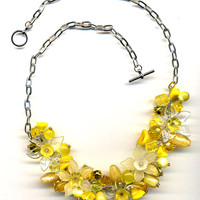 Daffodil Fringe Style Floral Yellow  Necklaces, OOAK Neckalce, Daffodil Necklace , handmade jewelry by annaart72