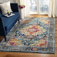 0131 Teal Multi Color Vintage Distressed Oriental Area Rugs