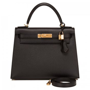Hermes Kelly Sellier Bag 28cm Black Epsom Gold Hardware