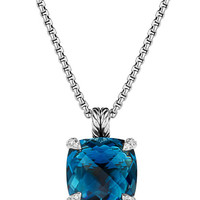 14mm Chatelaine Hampton Blue Topaz Pendant Necklace