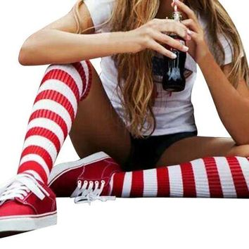 ESBON8C GBSELL Fashion Women Girl Red and White Striped Kntting Thigh-High Warm Socks