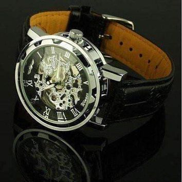 Classic Black Skeleton Hand Wind Watch For Men or Women