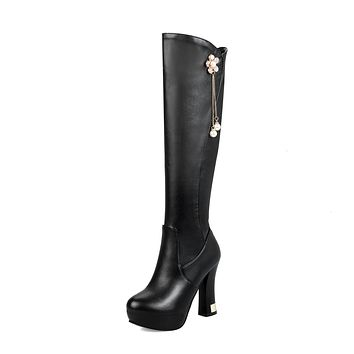 Pearls Tall Boots Winter Shoes Platform High Heels for Woman 2513