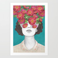 The optimist // rose tinted glasses Art Print by Laura Graves