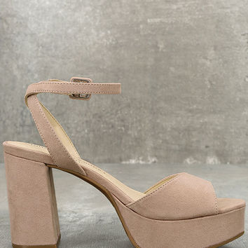 Chinese Laundry Theresa Rose Pink Suede Platform Heels