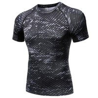 ac NOOW2 New Summer Compression Men Quick Drying T-Shirts Skinny Tops Shirt Fitness Workout Man Clothing