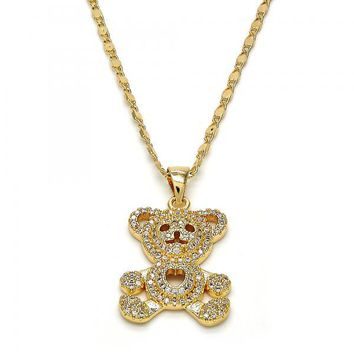 Gold Layered 04.233.0010.18 Fancy Necklace, Teddy Bear and Heart Design, with White Micro Pave, Polished Finish, Golden Tone