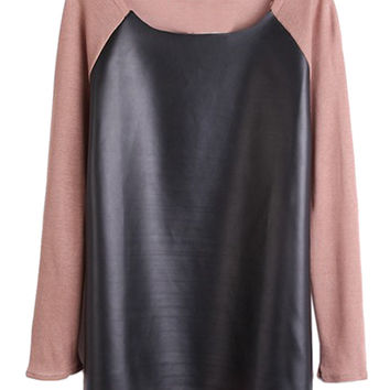 Peach Pink PU Paneled Long Sleeve T-shirt