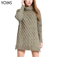 YOINS 2016 Turtleneck Long Sleeves Sweaters Side Split Cable Jumper Women Knitted Pullovers Fashion Loose Long Warm Outerwear