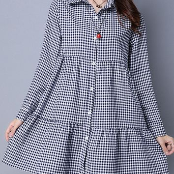 Casual Turn Down Collar  Plaid  Cotton/Linen Shift Dresses