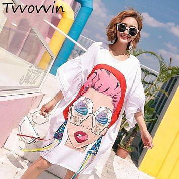 2019 Summer Girl Cartoon Sequins Print Asymmetrical Tops Tassel Irregular T Shirt Loose Plus Size Big Womans Fashion tops S030
