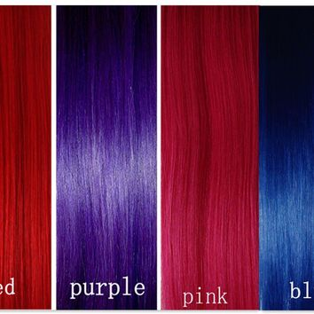 CLIP IN REMY 100%REAL HUMAN HAIR 1Single Piece EXTENSIONS RED PINK BLUE BLONDE!