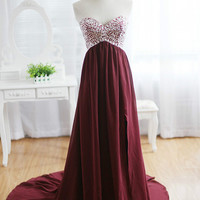 Beading Sweetheart Zipper Back Court Train Evening Dresses/Long Prom Dresses/Custom-Made Evening Dresses/X047