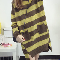 Striped Knit Slit Pullover Sweater in Coffee and Yellow or Black and White