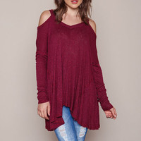 Burgundy Ribbed Knit Coldshoulder Top