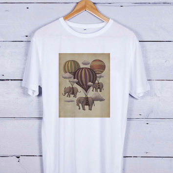 elephant ballon Tshirt T-shirt Tees Tee Men Women Unisex Adults