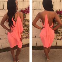 Peach Strappy V Neck Backless Ruffled Bodycon Midi Dress