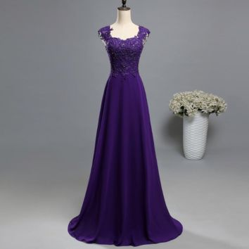 Lace two shoulder chiffon Lace long party colored beads Mother of the Bride Dresses Formal