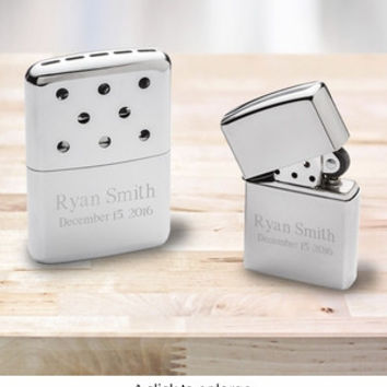 Get two-gifts-in-one with this classy hand warmer and lighter duo.                                                            .