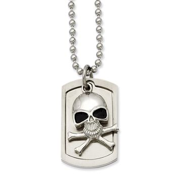 Stainless Steel Skull and Cross Bones Dog Tag Necklace 24 Inch